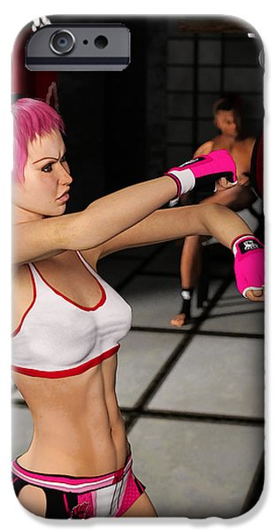 Boxer Digital Art iPhone Cases - Female Boxer Workout iPhone Case by Liam Liberty