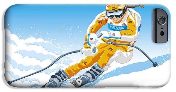 Ramspott iPhone Cases - Female Downhill Skier Winter Sport iPhone Case by Frank Ramspott