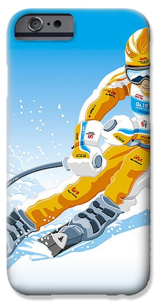 Female Downhill Skier Winter Sport iPhone Case by Frank Ramspott