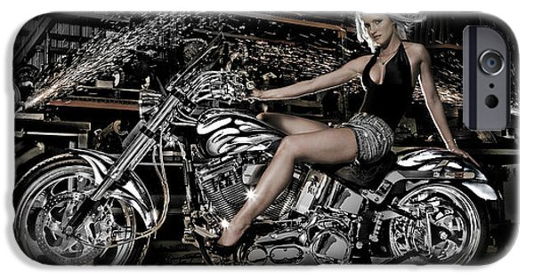 Model iPhone Cases - Female Model With A Motorcycle iPhone Case by Panoramic Images