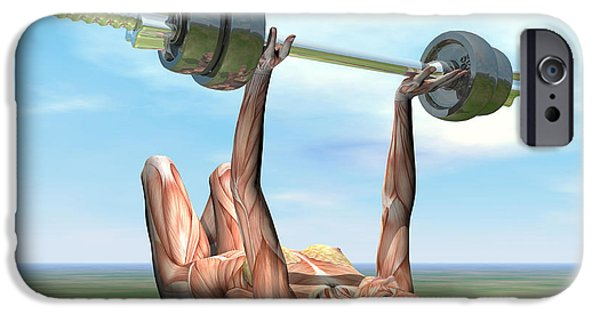 Concentration Digital iPhone Cases - Female Musculature Exercising iPhone Case by Elena Duvernay