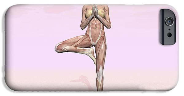 Concentration Digital iPhone Cases - Female Musculature Performing Tree Yoga iPhone Case by Elena Duvernay