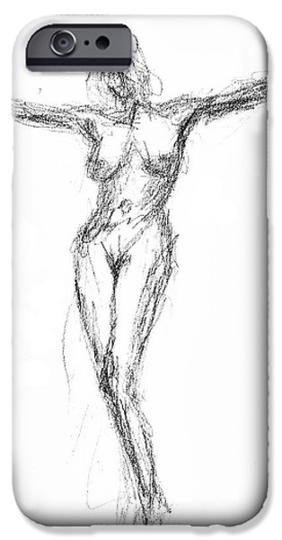 Crucifix Drawings iPhone Cases - Female Nude In The Pose As Jesus Christ Crucifix  - Pencil Drawing iPhone Case by Nenad  Cerovic