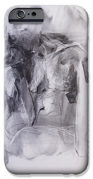 Feminine Pastels iPhone Cases - Female Nude One iPhone Case by Janet Goddard