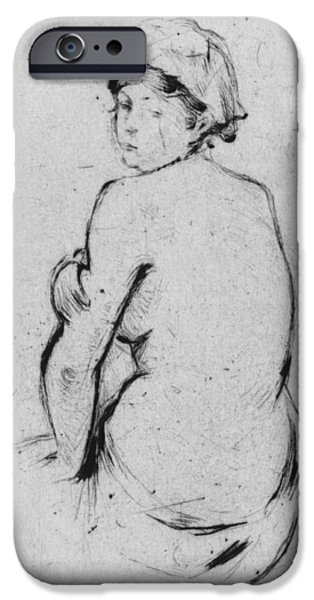 Female Drawings iPhone Cases - Female nude seen from behind iPhone Case by Berthe Morisot