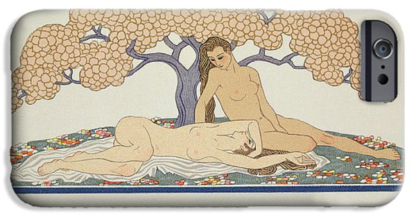 Lesbian Paintings iPhone Cases - Female nudes iPhone Case by Georges Barbier