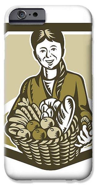 Female Organic Farmer Crop Harvest Woodcut iPhone Case by Aloysius Patrimonio