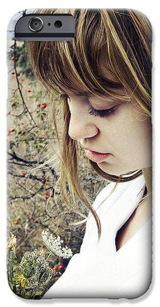 Freedom Pyrography iPhone Cases - Female Portrait iPhone Case by Jelena Jovanovic
