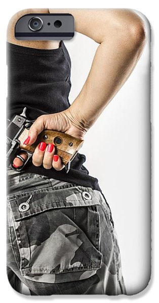 Detectives iPhone Cases - Feminin Agent iPhone Case by Carlos Caetano