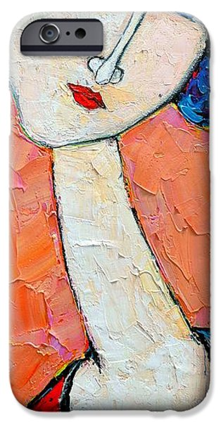 Abstract Expressionist iPhone Cases - Femininity iPhone Case by Ana Maria Edulescu