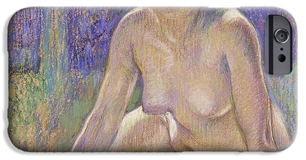 Feminine Pastels iPhone Cases - Femme Nue Assise iPhone Case by Theo Van Rysselberghe