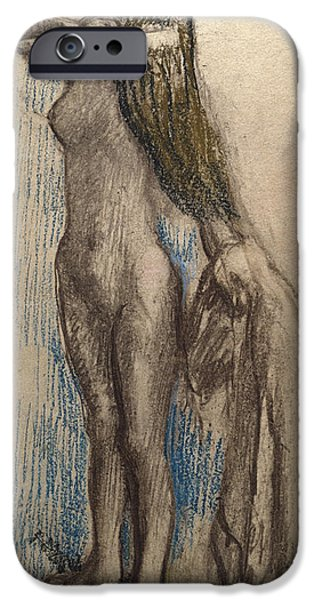 Female Drawings iPhone Cases - Femme Se Coiffant iPhone Case by Edgar Degas