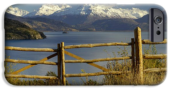 Mountain iPhone Cases - Fence In Front Of A Lake With Mountains iPhone Case by Panoramic Images