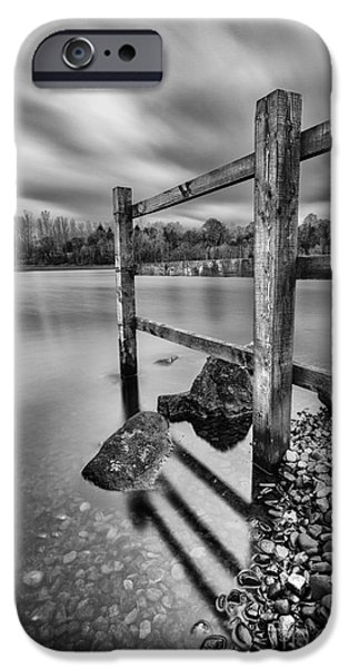 Fence in the loch  iPhone Case by John Farnan