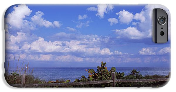 Manatee iPhone Cases - Fence On The Beach, Tampa Bay, Gulf Of iPhone Case by Panoramic Images