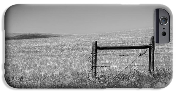 Old Fence Posts iPhone Cases - Fence Post Near Choteau Montana BW iPhone Case by Rich Franco
