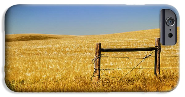 Old Fence Posts iPhone Cases - Fence Post Near Choteau Montana Painted iPhone Case by Rich Franco