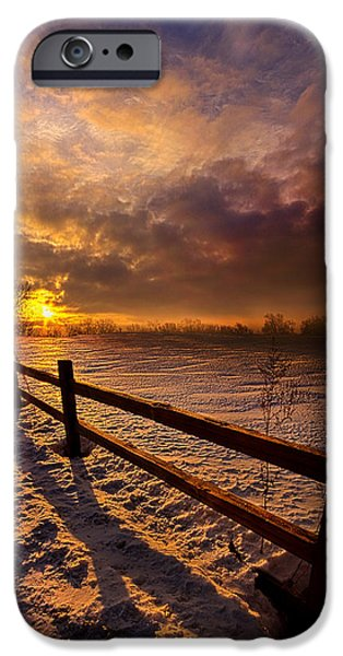 Crops iPhone Cases - Fence Walking iPhone Case by Phil Koch