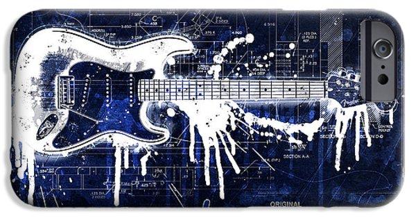 Fender Strat iPhone Cases - Fender Blueprint Washout iPhone Case by Gary Bodnar