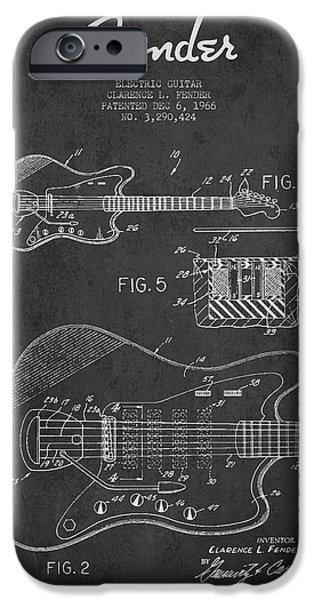 Fenders iPhone Cases - Fender Electric guitar patent Drawing from 1966 iPhone Case by Aged Pixel
