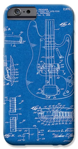 Lute Digital Art iPhone Cases - Fender Electromagnetic Pickup For Lute-type Musical Instrument Patent - Blueprint iPhone Case by BJ Simpson