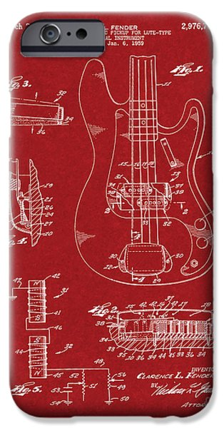Lute Digital Art iPhone Cases - Fender Electromagnetic Pickup For Lute-type Musical Instrument Patent - Burgundy Red iPhone Case by BJ Simpson