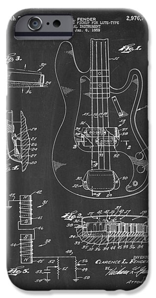 Lute Digital Art iPhone Cases - Fender Electromagnetic Pickup For Lute-type Musical Instrument Patent - Chalkboard iPhone Case by BJ Simpson
