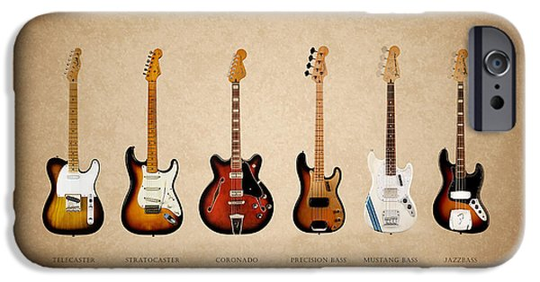 Mustang iPhone Cases - Fender Guitar Collection iPhone Case by Mark Rogan