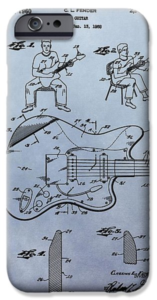 Fender Strat iPhone Cases - Fender Guitar Patent iPhone Case by Dan Sproul