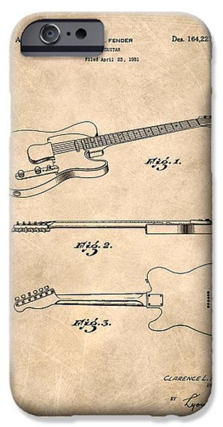 Fenders iPhone Cases - Fender Guitar Patent from 1951 iPhone Case by Mark Rogan