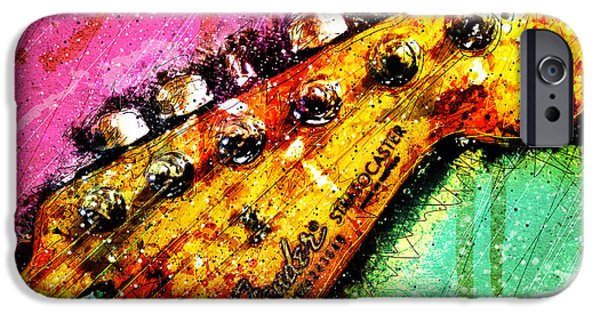 Fender Strat iPhone Cases - Fender Headstock 1 iPhone Case by Gary Bodnar