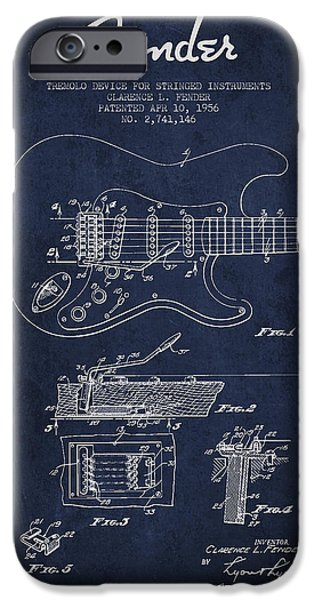 Strings Digital iPhone Cases - Fender Tremolo Device patent Drawing from 1956 iPhone Case by Aged Pixel