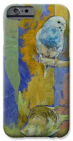 Michael Paintings iPhone Cases - Feng Shui Parakeets iPhone Case by Michael Creese