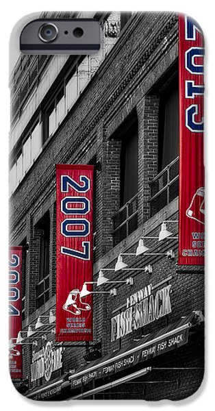 Boston Red Sox iPhone Cases - Fenway Boston Red Sox Champions Banners iPhone Case by Susan Candelario