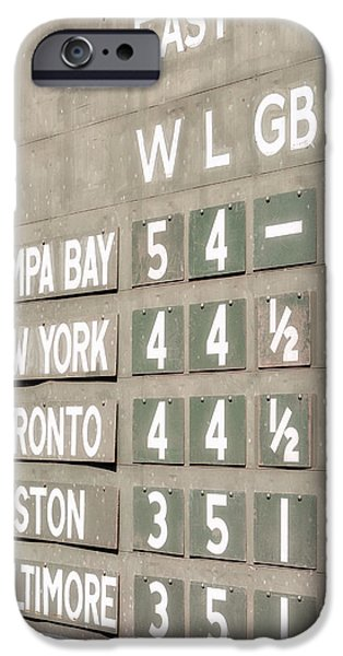 Red Sox iPhone Cases - Fenway Park AL East Scoreboard Standings iPhone Case by Susan Candelario