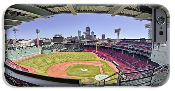 Red Sox iPhone Cases - Fenway Park and Boston Skyline iPhone Case by Susan Candelario
