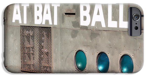 Red Sox iPhone Cases - Fenway Park At Bat - Ball Scoreboard iPhone Case by Susan Candelario