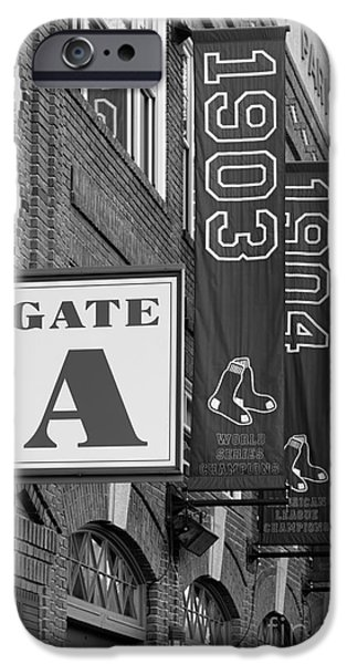 Tickets Boston iPhone Cases - Fenway Park Gate A BW iPhone Case by Jerry Fornarotto