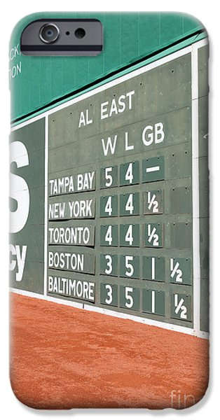 Red Sox iPhone Cases - Fenway Park Green Monster Scoreboard I iPhone Case by Clarence Holmes