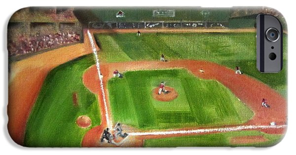 Baseball Stadiums Paintings iPhone Cases - Fenway Park iPhone Case by Lindsay Frost