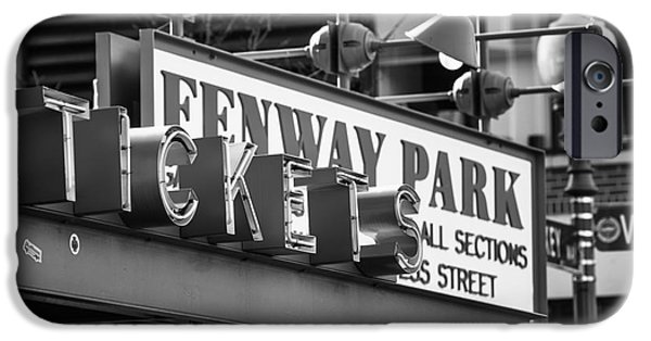 Tickets Boston iPhone Cases - Fenway Tickets bw iPhone Case by Jerry Fornarotto