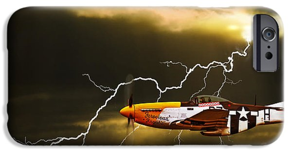 P-51 Mustang iPhone Cases - Ferocious Frankie In A Storm iPhone Case by Meirion Matthias