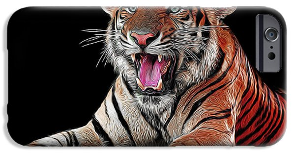 Eye Of The Tiger iPhone Cases - Ferocious Tiger iPhone Case by Daniel Hagerman