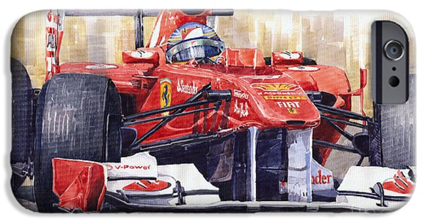 Racing Paintings iPhone Cases - Ferrari 150 Italia Fernando Alonso F1 2011  iPhone Case by Yuriy  Shevchuk