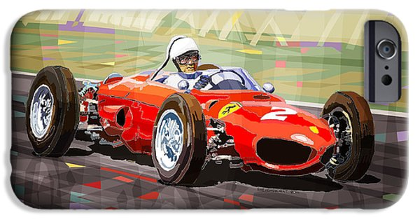 Racing iPhone Cases - Ferrari 156 Dino British GP1962 Phil Hill iPhone Case by Yuriy Shevchuk