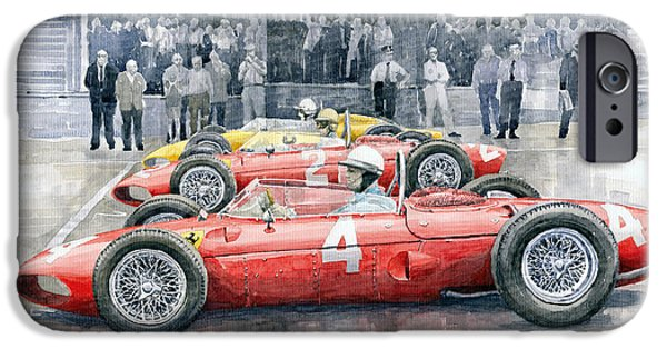 Automotive iPhone Cases - Ferrari 156 Sharknose 1961 Belgian GP iPhone Case by Yuriy Shevchuk