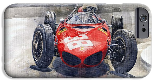 Ferrari Watercolor iPhone Cases - Ferrari 156 Sharknose Phil Hill Monaco 1961 iPhone Case by Yuriy Shevchuk