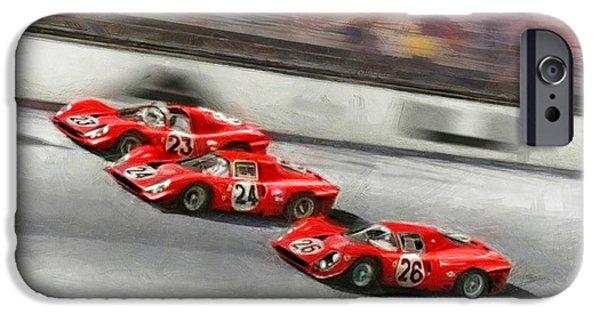 Michael Schumacher iPhone Cases - Ferrari 1967 Daytona iPhone Case by Tano V-Dodici ArtAutomobile