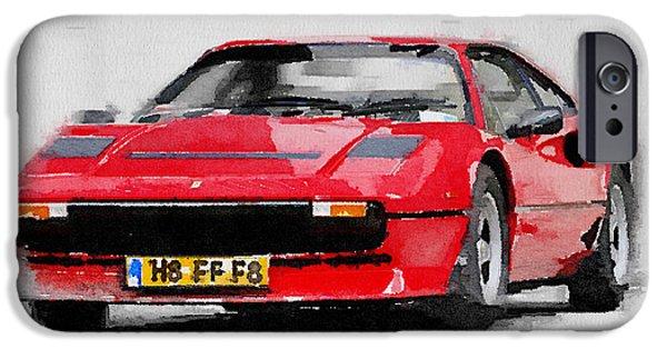 Old Cars iPhone Cases - Ferrari 208 GTB Turbo Watercolor iPhone Case by Naxart Studio