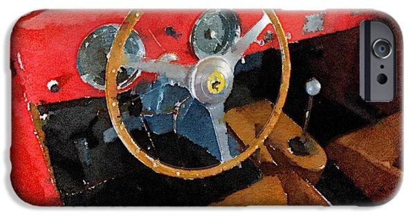 Old Cars iPhone Cases - Ferrari 225 S Berlinetta Interior Watercolor iPhone Case by Naxart Studio